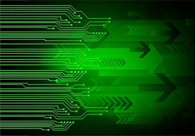 Grüner pfeil cyber-zukunftstechnologie-konzepthintergrund