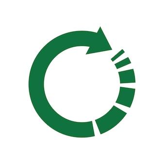 Grüner pfeil, recyclingsymbol für ökologisch reine fonds