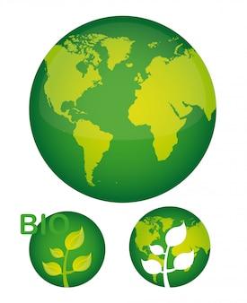 Grüner planet mit anlage über weißer hintergrundvektorillustration