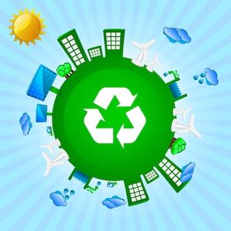Grüner planet: recycling, wind- und sonnenenergie