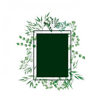 Grüner rahmen mit zweigen und blättern