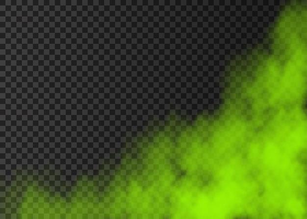 Grüner rauch auf transparentem hintergrund isoliert. dampf-spezialeffekt. realistischer bunter vektorfeuernebel oder nebelbeschaffenheit.