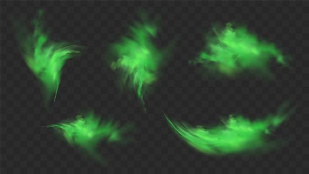Grüner rauch gesetzt lokalisiert auf transparentem hintergrund. realistischer satz von grünem schlechtem geruch, magischer nebelwolke, chemisch giftigem gas, dampfwellen. realistische illustration