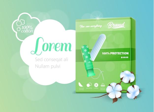 Grüner realistischer satz mit hygienischer tampon-fahne