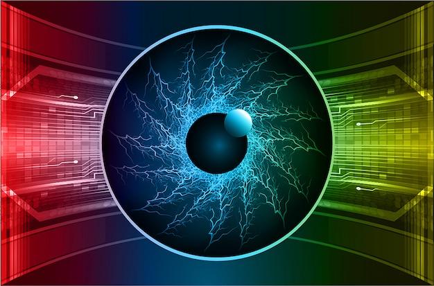 Grüner roter cyberstromkreis des blauen auges zukünftiger technologiehintergrund