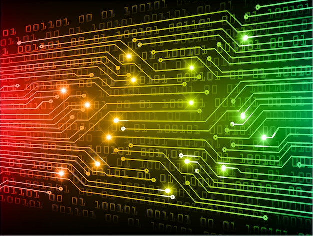 Grüner roter gelber cyberschaltung zukünftiger technologiekonzepthintergrund