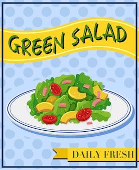 Grüner salat auf der speisekarte