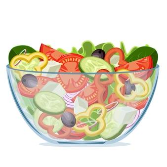 Grüner salat des frischen gemüses in einem transparenten salatschüsselobjekt lokalisiert auf einem weißen hintergrund