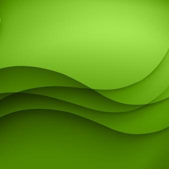 Grüner schablonen-abstrakter hintergrund mit kurvenlinien und schatten. für flyer, broschüren, broschüren, websites