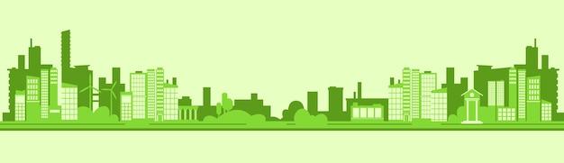 Grüner schattenbild-eco-stadt-flacher vektor