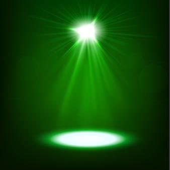 Grüner scheinender scheinwerfer