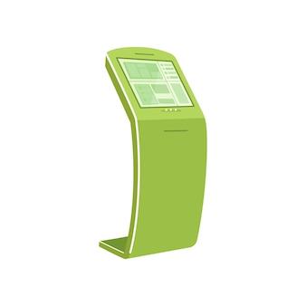 Grüner selbstbedienungskiosk im flachen stil