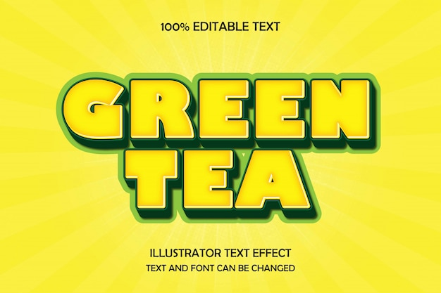 Grüner tee, bearbeitbarer texteffekt moderner comic-schattenstil