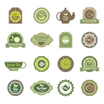 Grüner tee beschriftet ikonen eingestellt
