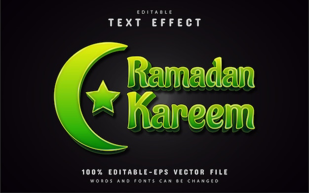 Grüner texteffekt des ramadan kareem