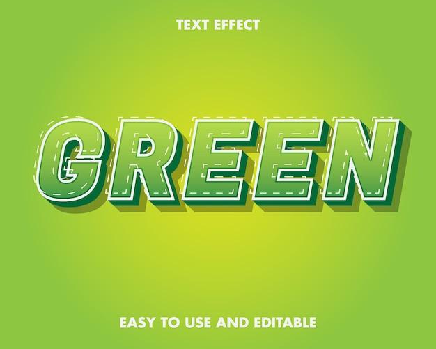Grüner texteffekt. einfach zu bearbeiten und einfach zu bedienen. premium-vektor-illustration