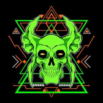 Grüner totenkopf mit heiliger geometrie für den kommerziellen gebrauch