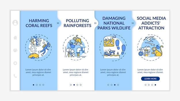 Grüner tourismus fordert onboarding-vektorvorlage heraus. responsive mobile website mit symbolen. webseiten-walkthrough-bildschirme in 4 schritten. schädigendes farbkonzept für korallenriffe mit linearen illustrationen