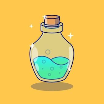 Grüner trank heilen flaschenillustrationsdesign premium-designkonzept für isolierte objekte