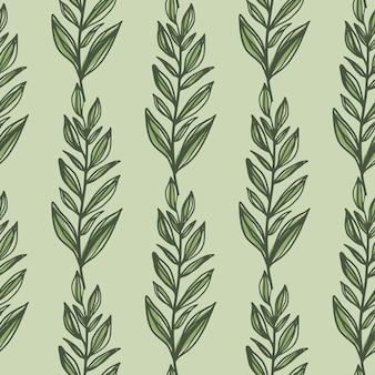 Grüner umriss lässt zweige nahtloses muster. pastell heller olivgrüner hintergrund. einfacher blumenhintergrund.