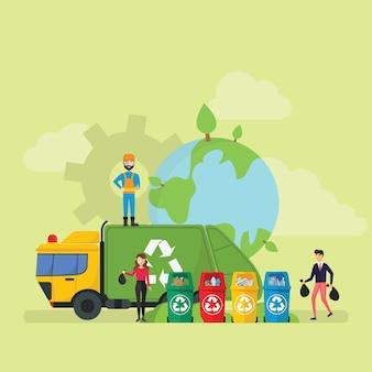 Grüner umweltfreundlicher abfall, der technologie-lebensstil-kleinen leute-charakter aufbereitet