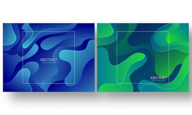 Grüner und blauer flüssiger fluss oder flüssiger kunstzusammenfassungshintergrund