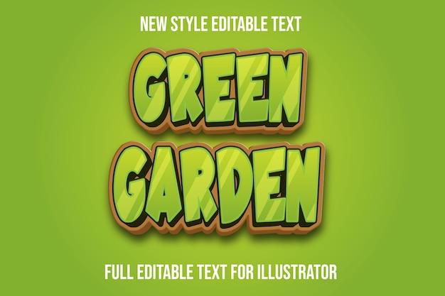 Grüner und brauner farbverlauf der grüne gartenfarbe des texteffekts 3d