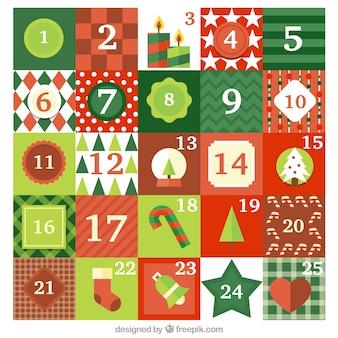 Grüner und roter adventskalender mit vielen verschiedenen weihnachtsattributen