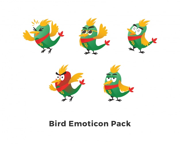 Grüner vogel emoticon pack