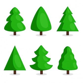 Grüner weihnachtsbaum eingestellt in karikaturart