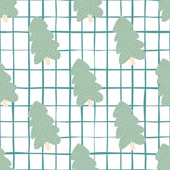 Grüner weihnachtsbaum mit weißem hintergrund und blauem scheck. nahtloses muster. illustration. für stoff, textildruck, verpackung, bezug.