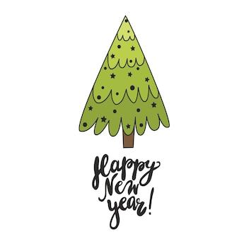Grüner weihnachtsbaum weihnachtskarte mit dem schriftzug happy new year doodle tree