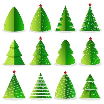 Grüner weihnachtsbaumsatz