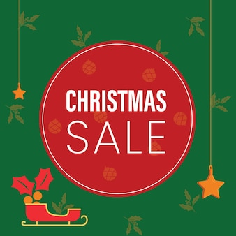 Grüner weihnachtsverkauf poster vektor