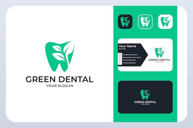 Grüner zahn mit blattlogodesign und visitenkarte