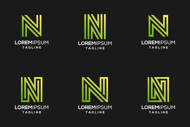 Grünes abstraktes buchstabe-n-logo mit schattierter farbe