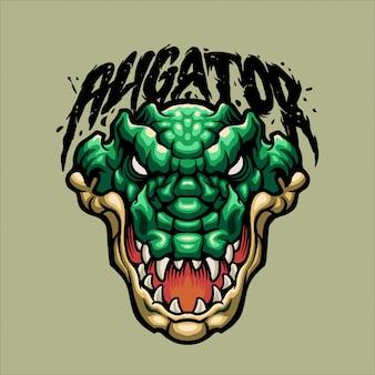 Grünes aligator-maskottchen
