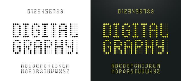 Grünes alphabet und zahlen led digitales alphabet