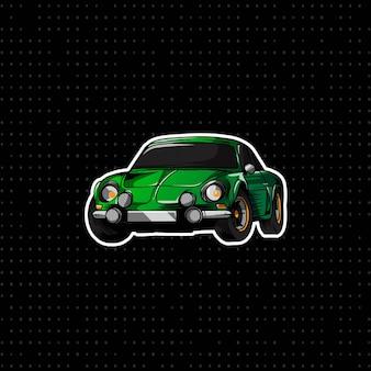 Grünes alpines auto des handabgehobenen betrages