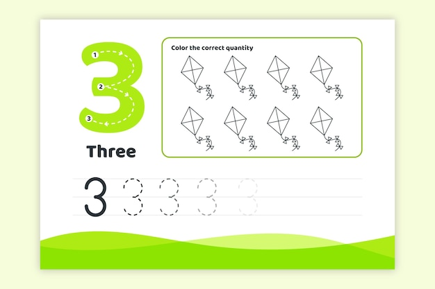 Grünes arbeitsblatt nummer drei