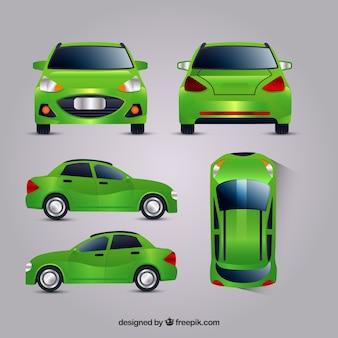 Grünes auto in verschiedenen ansichten