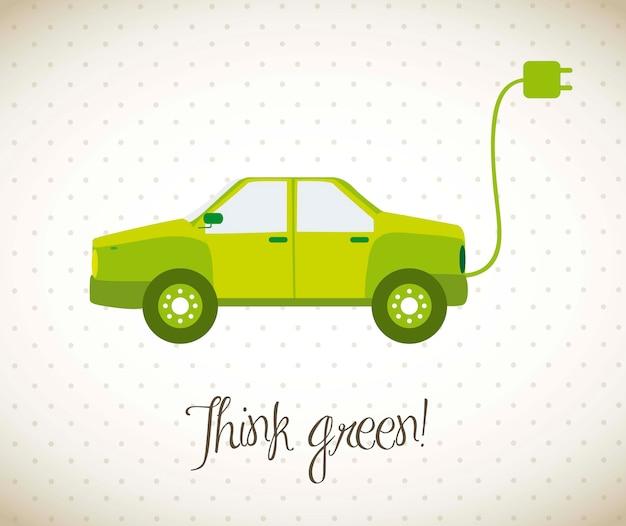 Grünes auto mit vintage-stil-vektor-illustration