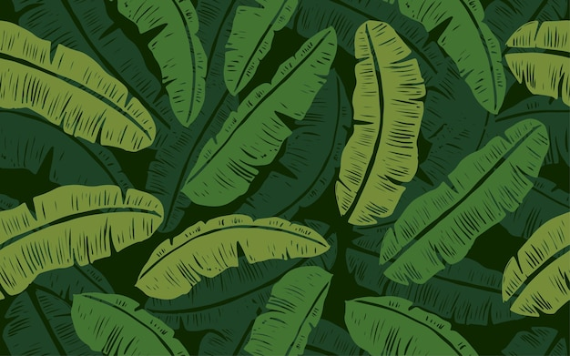 Grünes bananenblatt nahtloses muster