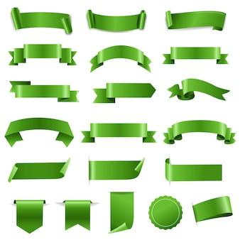 Grünes band-set und etiketten weißer hintergrund