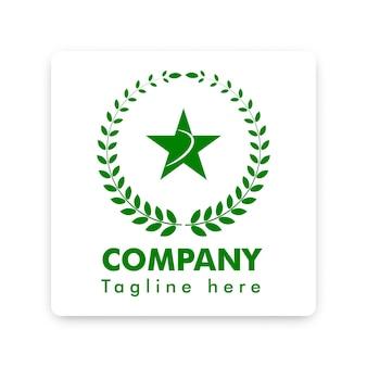 Grünes baumwoll- und sternsymbol-logo