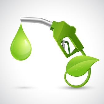 Grünes biokraftstoffkonzept mit betankung des düsenblattes und konzeptvektorillustration der natürlichen energie des tropfens