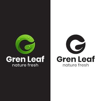 Grünes blattlogo des buchstabens g mit schwarzer version