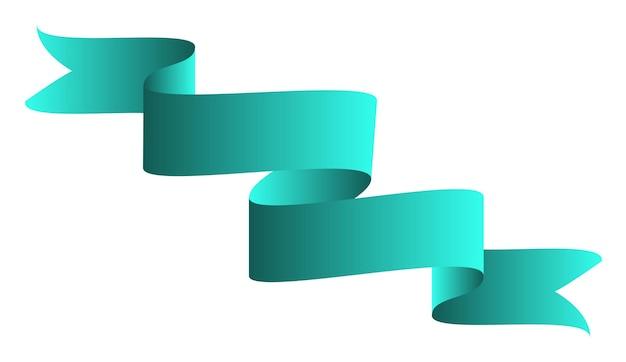Grünes buntes gebogenes band auf weißem hintergrund. vektor-illustration. eps10
