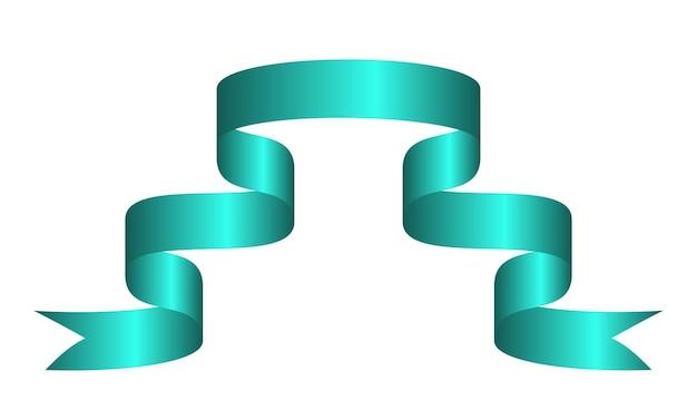 Grünes buntes gebogenes band auf weißem hintergrund. vektor-illustration.