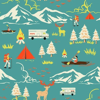 Grünes campingausflugmuster mit touristischer karikaturillustration